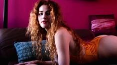 Big natural tits redhead MILF model solo