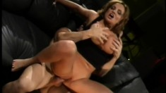 Busty, hot Milf gets a young stud to gobble up and pound her wet cunny