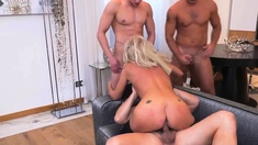 Horny hairy Milf ties up hubby and takes on three guys p3