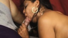 Tanned brunette slut with a fat ass gets a rough double stuffing