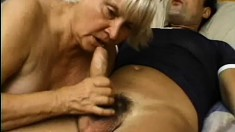 Old slut gets her worn-out cunt penetrated by young famished stud