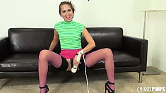 Riley Reid does a deepthroat show with transparent dildo and uses vibrating sex toy