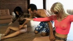 Two slutty tramps get their tight pussies wrecked by their instructor