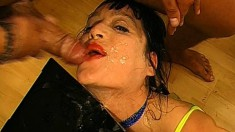 Trashy babes do everything to have hot semen flowing down their throats