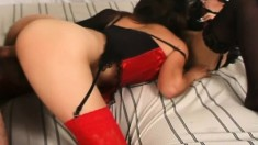 Leggy Asian bitches in kinky lingerie take turns sharing a dick