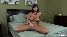 Naughty big tittied slut Lisa Ann lets the good times roll in her snatch