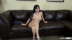 Sativa is totally naked and stands showing off and shows her nice ass