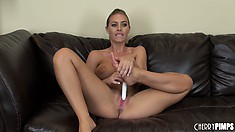Sweet babe Nicole Aniston works her vibrating toy on her wet slit