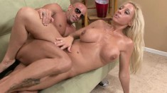 Gorgeous blonde milf with marvelous big hooters goes crazy for a cock