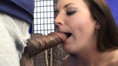Playful brunette Leah gets all wet while sucking on a huge black boner