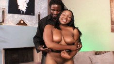 Stacked and lustful ebony teen fucks a black stick every way she can