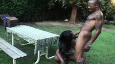 Sexy Shawna lies out in the backyard to get her shaved twat nailed