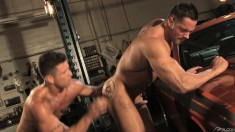 Muscled hunk loves to suck a big prick and to take it hard in his ass