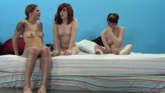 Horny sluts Emma Snow, Saddie Kennedy and Holly Starr enjoy cocks galore in an interracial gangbang