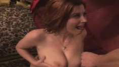 Voluptuous brunette Sara Stone gets fucked deep by Doug on the couch