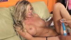 Blonde bombshell Samantha Saint blows a big dick and makes herself cum