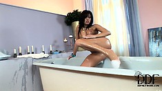 Her Perfect Swarthy Body Looks Plain Amazing In Soap Bubbles