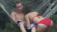 Dirty blonde with large boobs gives blowjob outdoor