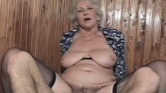 Hirsute mature granny takes on a young cock