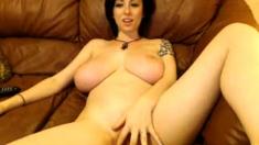 Very Hot Busty Brunette Solo Masturbation On Webcam