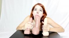 Busty Redhead Toying On Webcam