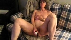 Amateur Mature Brunette Toying With Dick