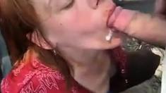 Amateur MILF Blow Job Outside Eats Cum