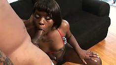Two studs make an ebony slut moan in a hot interracial threesome