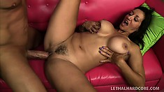 Persia Monir, a busty milf with a hot ass, tongues her man's ass and rides his hard cock