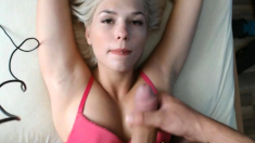 Blonde with big tits strokes cock