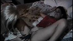Uninhibited blonde in sexy lingerie bends over the table to get her ass banged