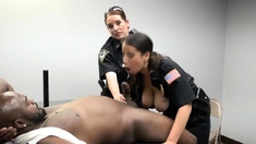 Big black stud is pounding this horny MILF's white pussy.