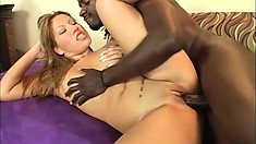 Asian hottie with a perky ass gets her tight peach stretched by a huge black rod