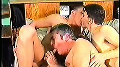 A couple of skilled stallions get into a threesome with an older hunk
