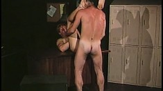Toned stud gets bent over and has his firm ass rammed by a horny gay guy