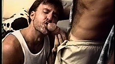 Paul Carrigan blows his lover's long cock and receives a huge load on his chest