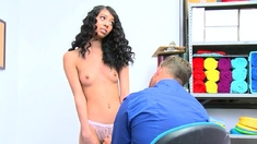Petite ebony teen fucked by an horny LP officer for stealing