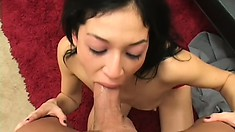 Gorgeous brunette with tiny tits reveals her great cock sucking skills