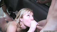 Horny blonde Adrianna is getting drilled by two dudes and gets a load of cum