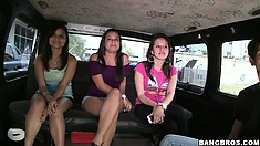 This trio of brunette amateurs is in for a hot ride on the Bang Bus