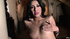 Raven haired babe is pretty vocal about her cunt rubbing activity