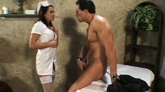 Wild nurse in sexy lingerie Sandra gets fucked in the ass by a patient