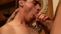 Three horny guys get down to work on each other's mighty cocks